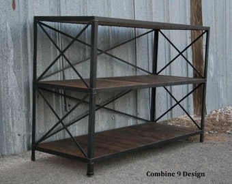 Vintage Industrial Shelving Unit.  Steel & Reclaimed Wood.  Mid Century Modern.  Rustic, Urban, Bookcase. Loft Decor.