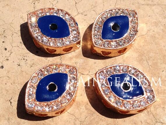 4PCS, 3D Rose Gold Evil Eye Sideways Charm Connector with Blue Eye