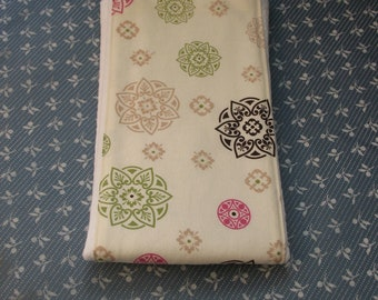 Medallions-Burp Cloth-Handmade-Tan Brown Pink Green-Super Absorbent-Great Baby Shower Gift