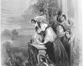 SPANISH MAIDEN on Balcony Signal from Lover in Boat Fine Dress - SUPERB Victorian Vintage Antique Print