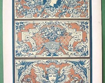 ROCOCO Floral Ornaments from Water Color by Hollaky - 1895 German Color Antique Print Dekorative Vorbilder