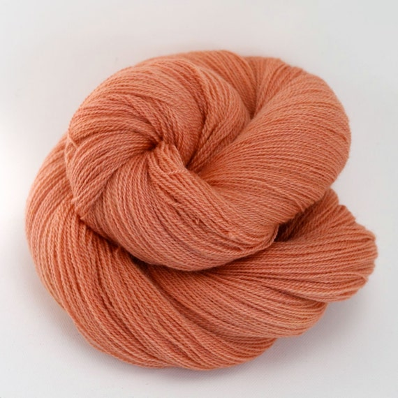 SALE 20% Off - Lyra - Hand Dyed Merino Tussah Silk Lace Yarn - Colorway: Peachy Keen