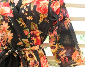 Floral kimono getting ready robe crossover style - bridesmaids gift, bridal shower party, party favors, wedding photo prop