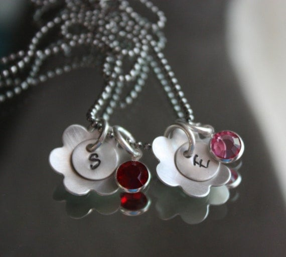 Sterling Silver Blossom Initial Charms