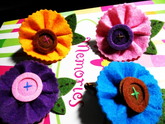 Adorable set of 4 felt flower hair clips, assortment of colors. Darling spring/summer sale. Cute kawaii indie or gypsy style.