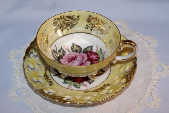 Elegant Yellow, Mother of Pearl with Roses, Royal Sealy, Footed Tea Cup, Cut Out Saucer