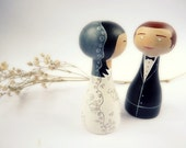 Wedding Cake Toppers -  FREE SHIPPING  Personalized - Wooden art doll hand painted