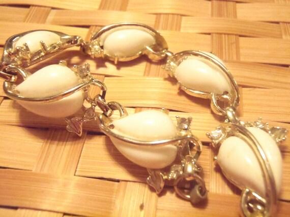 White Rhinestone Silver Bracelet