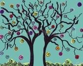 Tree drawing - 10x8 print - blue wall art - Toni Zasa