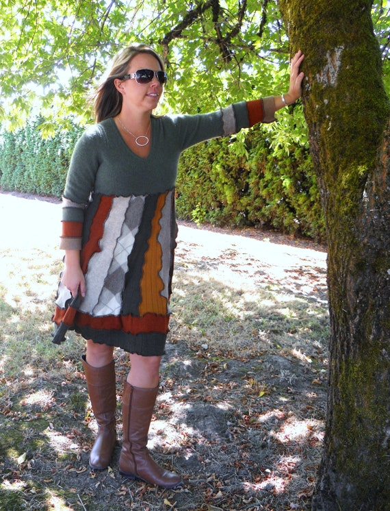 Recycled Sweater Dress Autumn Upcycled Spring Sale