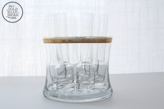 Vintage Shot Glasses with Glass Ice Bucket
