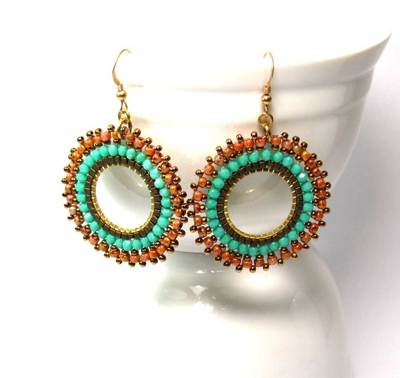 Beaded hoop dangle earrings, round turquoise brown Gold filled ear hooks Holiday gift under 40