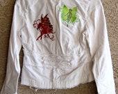 White courdory Flourish Fairies Embroidered  Jacket