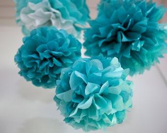 TEAL BLUE SET / 5 Tissue Paper Poms / Nursery Mobile / Baby or Bridal Shower Decor / Wedding Decor / Nursery Decor
