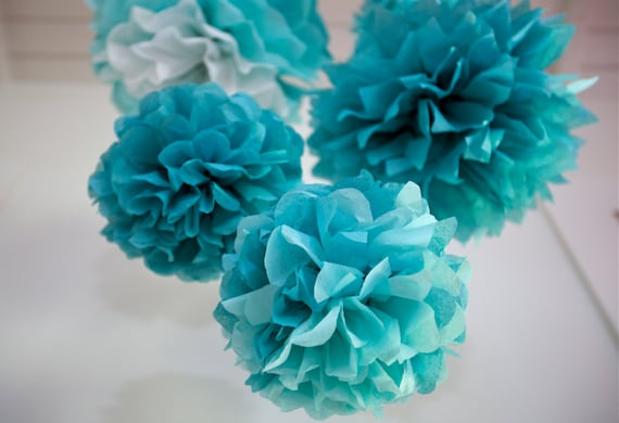TEAL BLUE SET / 5 Tissue Paper Poms / Nursery Mobile / Baby or Bridal Shower Decor / Wedding Decor / Nursery Decor