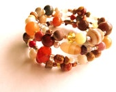 Mixed Stone Bracelet / Four Strand Silver Plated Memory Wire / Gemstone Glass Pearl Ceramic / Autumn Colours / Jewelry for Women