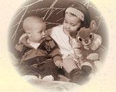 Cream Holiday Card, Vintage Style, Personalized with Photo