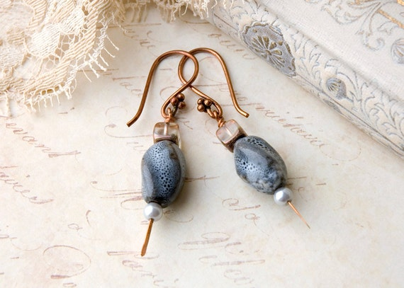 Steel Grey, Crystal, and Pearl Dangle Drop Earrings, Copper earwires