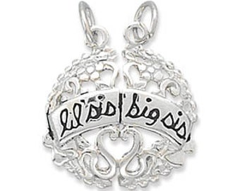 SISTERS Charm // Lil Sis and Big Sis Break-Away Charm in sterling silver. 2 charms... one Low Price