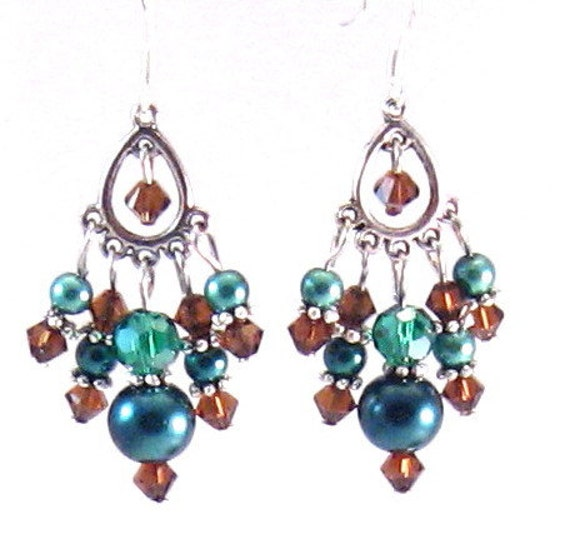 Teal & Mocha Brown Pearl and Crystal Chandelier Earrings, Brown Jewelry, Teal Jewelry, Blue Jewelry, Summer Jewelry, Womens Fashion