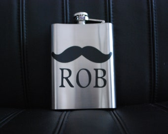 Stache Decal - Mustache Vinyl Decal - Personalized Flask Decals - Custom Wedding Groomsmen Gift - Personalized Present for Best Man