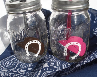 WESTERN Cowgirl Cowboy Hat Horseshoe Up for luck Western Mason Jar Drinks country sipper tumblers with Reusable BPA Free Straws TWO 16z