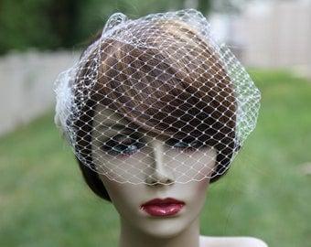Bridal Veil With light  Ivory Flower - Birdcage Veil - Rhinestone - Bridal Hair Accessory