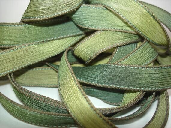 Hand Painted Silk Ribbon Woodland Wrist Wrap Ribbon