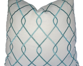 Decorative Designer Duralee Aqua Embroidered, Trellis Lattice, Turquoise Pillow Cover, 18x18, 20x20, 22x22 or Lumbar. Throw Pillow
