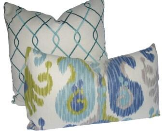 Decorative Designer Aquamarine Ikat, Lumbar Pillow Cover,  Blue, Aqua, Green, Grey, Throw Pillow
