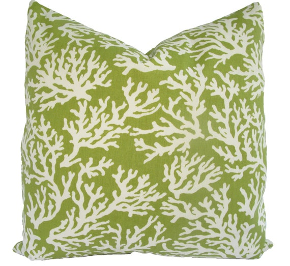 SALE - Decorative Designer  Indoor Outdoor Pillow Covers - 20 inch - Green and Ivory - Coral Pattern - Throw Pillow