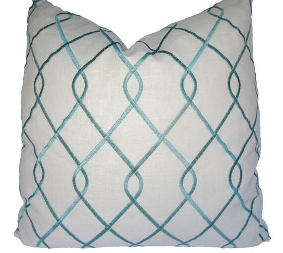 Decorative Designer Duralee Aqua Embroidered, Trellis Lattice, Turquoise Pillow Cover, 18x18, 20x20, 22x22 or Lumbar. Throw Pillow