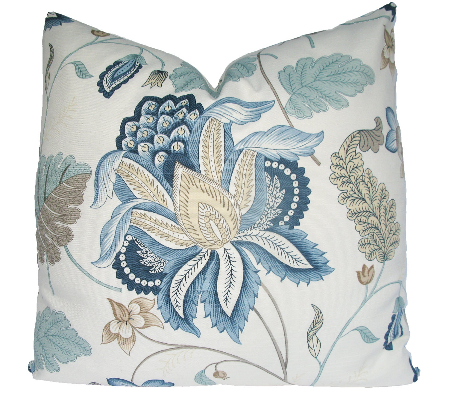 Jacobean Decorative Pillows : Decorative Jacobean Floral Pillow Cover Aqua Teal Taupe