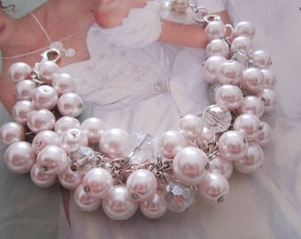 Pink Pearl Bracelet, Cluster Bracelet, Pearl and Crystal Bracelet Blush Pink Bracelet Blush Wedding Jewelry Bridesmaid Bracelet Gift For Her
