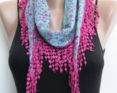 Summer scarf- Multicolor floral cotton spring scarf, lace scarf