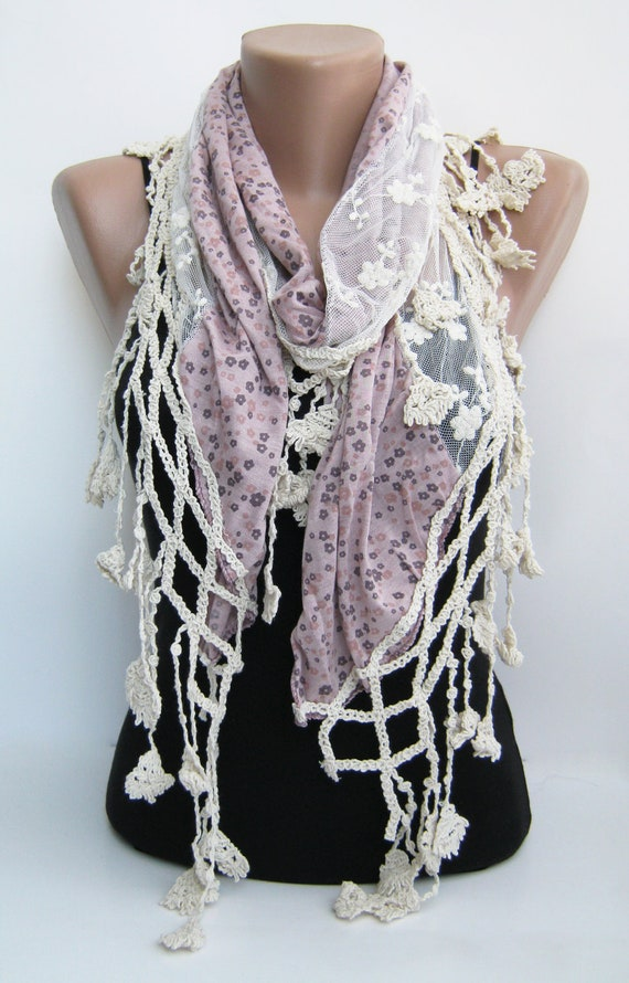 Pink floral lace tulle scarf