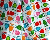 Owl Baby Blanket Red Yellow Orange Pink Green Blue on White Fleece, Stroller Blanket