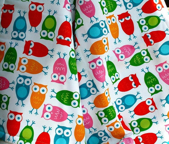 Owl Baby Blanket Red Yellow Orange Pink Green Blue on White Fleece, Stroller Blanket