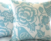"Pillow cover, Robin egg blue Aviary pillow cover - ""18x18"" pillow cover"