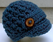 Crocheted Newsboy Hat for Baby Newborn to 3 months Ready to Ship Toddler, child, teen and adult sizes available to order