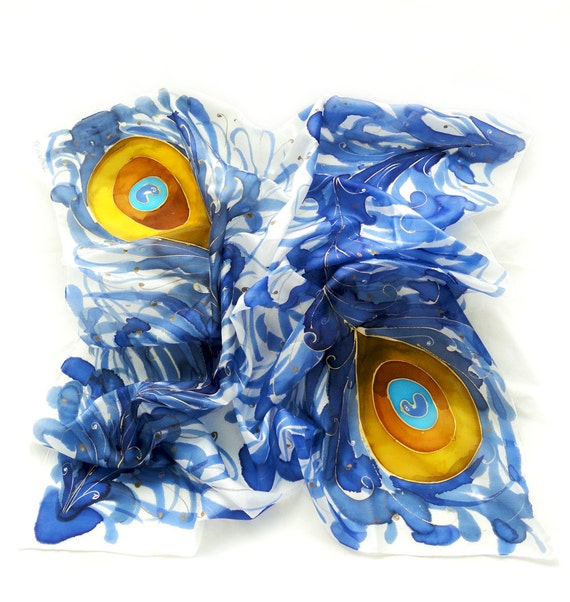 Blue Silk Scarf. Hand Painted square Silk Scarf. Blue, Orange Yellow Silk Shawl. Peacock Fashion. 35 x 35 in. (90x90cm). Ready to Ship.
