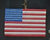 Large American Flag hand painted on corrugated metal to hang on the door, wall, or outdoors