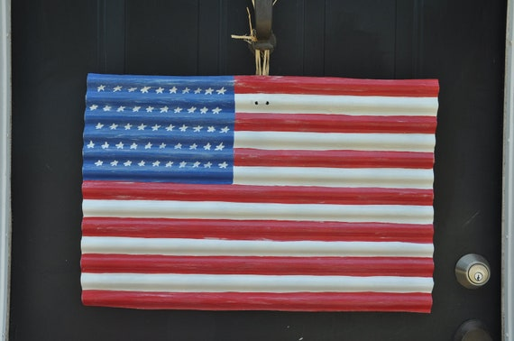 large american flag hand painted on corrugated metal to hang. Black Bedroom Furniture Sets. Home Design Ideas
