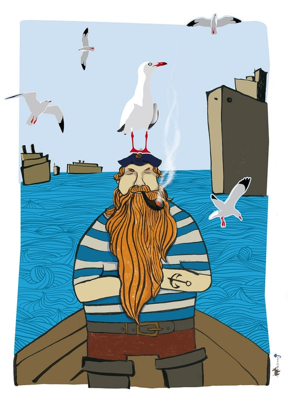 The Sailor And The Seagulls Poster With Stickers, Wall Decor
