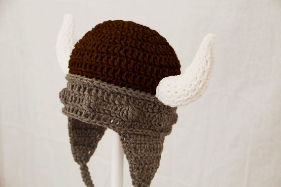 Viking Hat, Brown and Grey Crochet Earflap with Horns, RTS Ready to ...