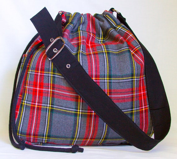 Upcycled Red Plaid Drawstring Hobo Bag, the 'Paige'