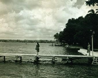 Vintage Amateur 8x10 Black & White Original Photo Women on Dock Viewing Storm