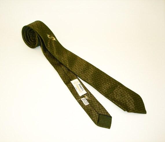 50s Towncraft Skinny Tie Narrow Mad Men Era Mid Century Mod Green & Gold Sharkskin Mens Vintage Penney's Towncraft Necktie