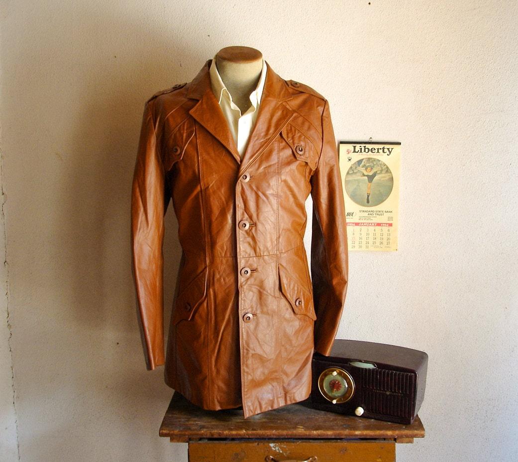 70s Mens Leather Car Coat Vintage 1970s Disco Era Rust Brown