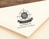 Nautical Compass - Personalized Wooden Stamp - Address - Save the Date - FREE SHIPPING